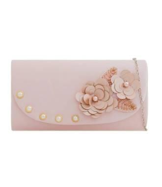 Pochette poudrée avec déco fleurie et perles nacrées