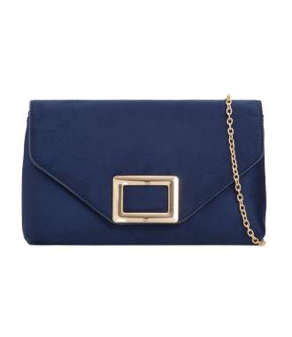 Pochette suédine bleu fermoir rectangle métal
