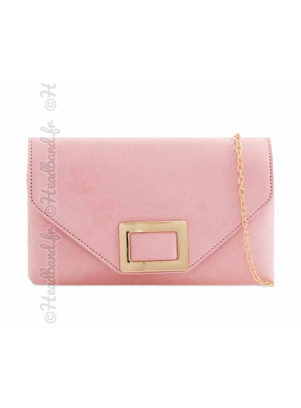 Pochette suédine rose fermoir rectangle métal