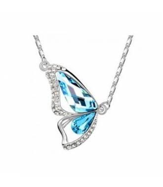 Collier aile papillon cristaux bleu