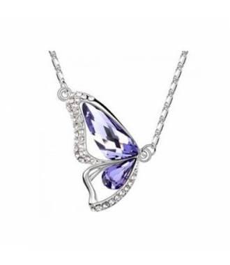 Collier aile papillon cristaux violet