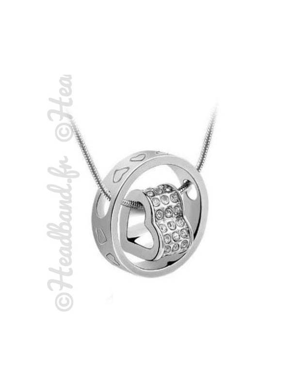 Collier femme anneau cœur gravé blanc