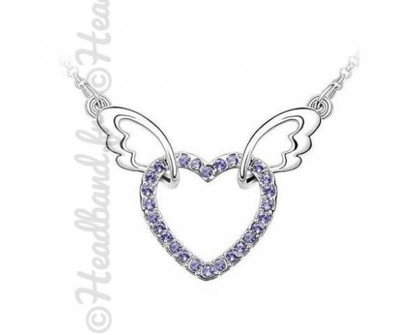 Collier ailes cristaux violet