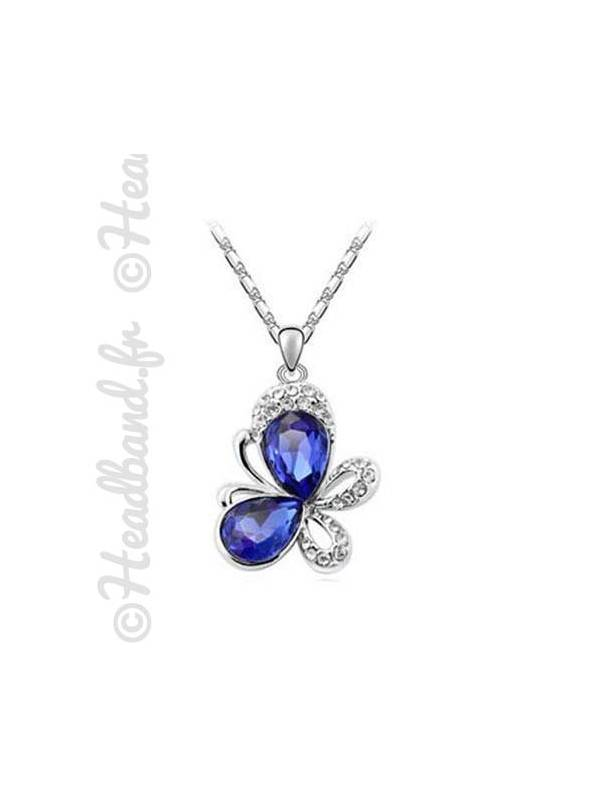 Collier butterfly cristal bleu roi