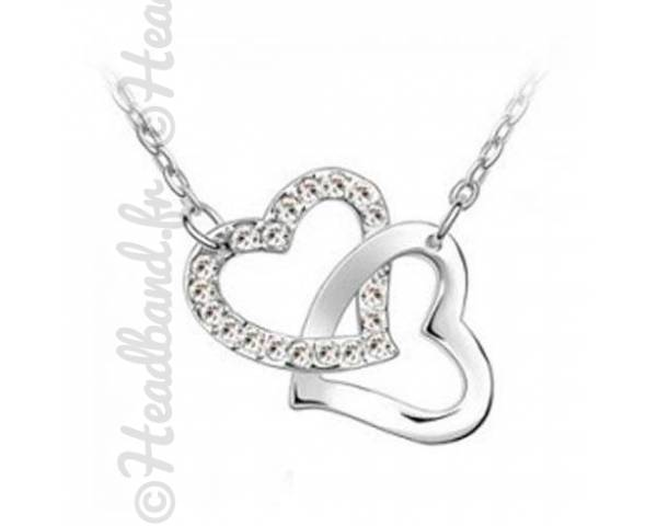 Collier duo coeur blanc