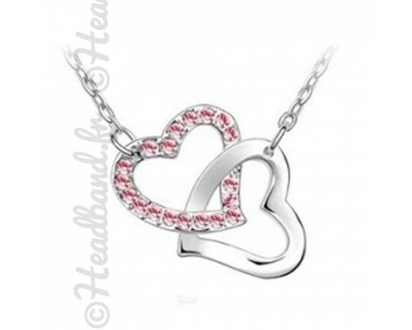 Collier duo coeur rose