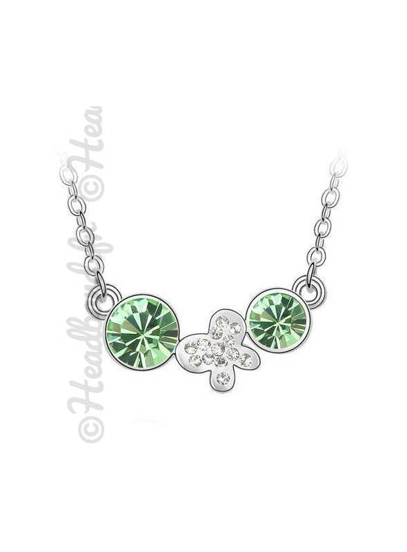 Collier butterfly double strass vert