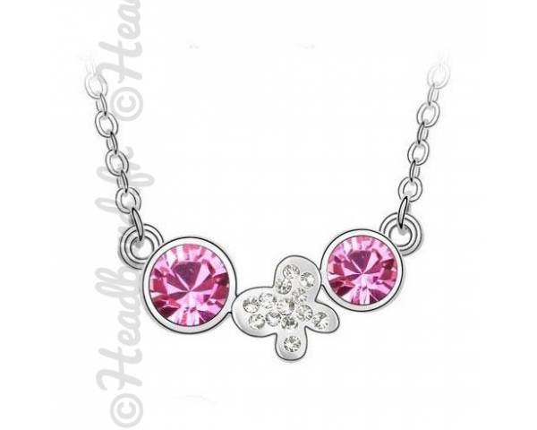 Collier butterfly double strass rose