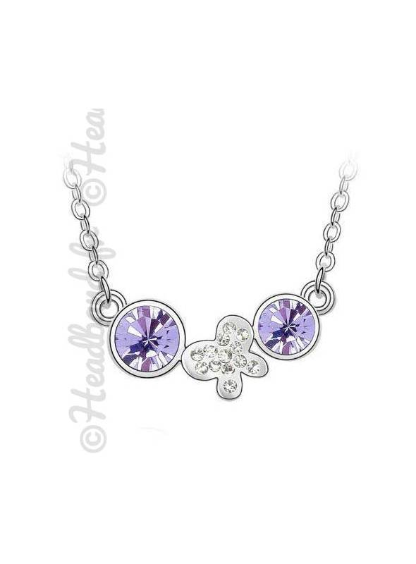Collier butterfly double strass violet