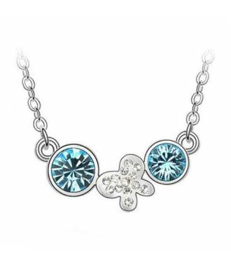 Collier butterfly double strass bleu