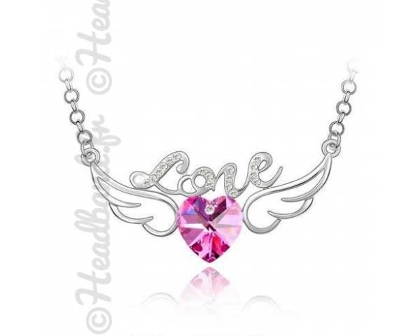 Collier avec inscription love et cristal rose
