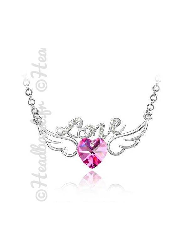 Collier avec inscription love et cristal rose