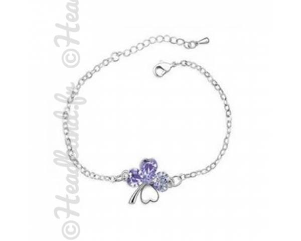 Bracelet trèfle cristal mauve