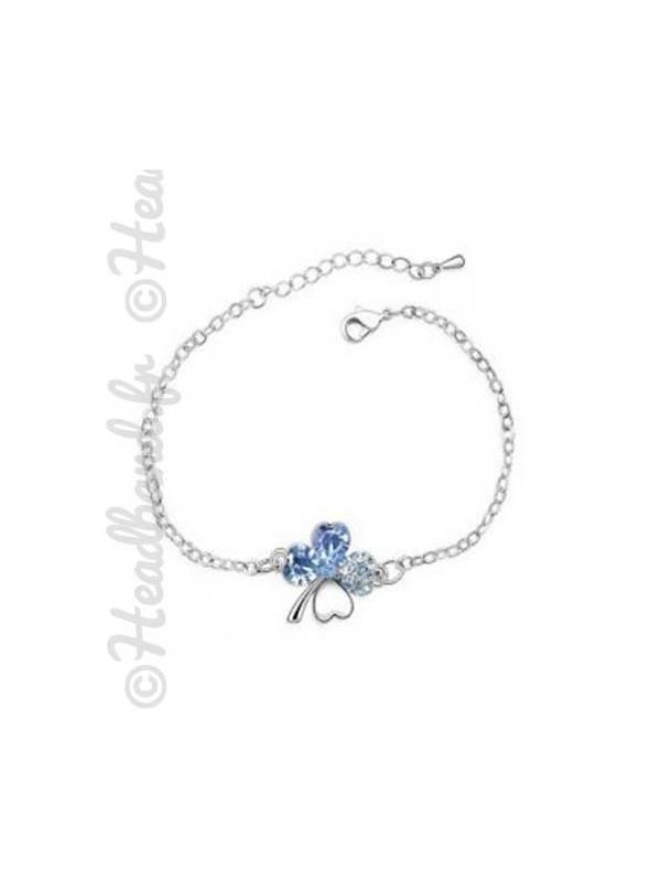 Bracelet trèfle cristal bleu océan