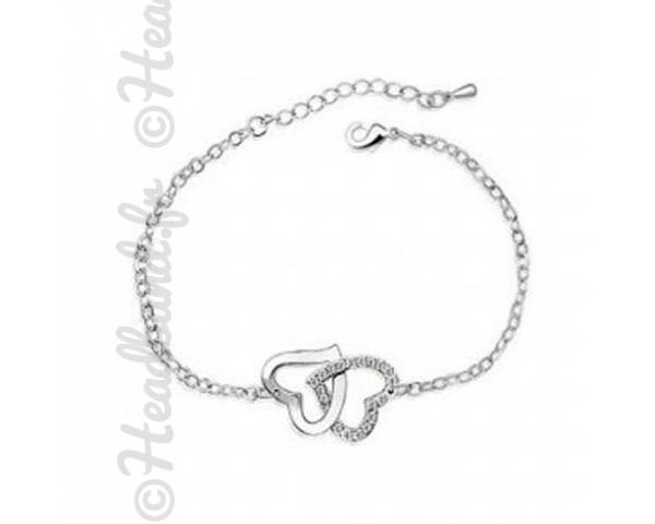 Bracelet duo cœurs cristaux blanc