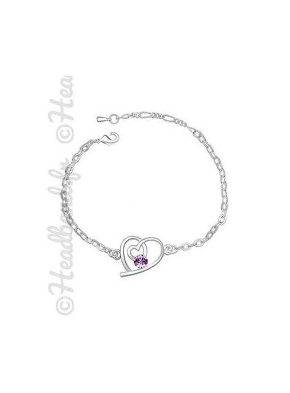 Bracelet love cristal violet