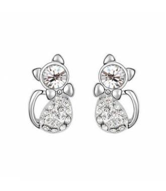 Boucles d'oreilles chat cristaux blanc