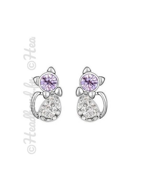Boucles d'oreilles chat cristaux mauve