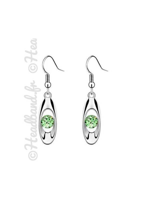 Boucles avec pendentif ovale strass vert