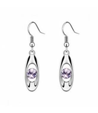 Boucles avec pendentif ovale strass violet