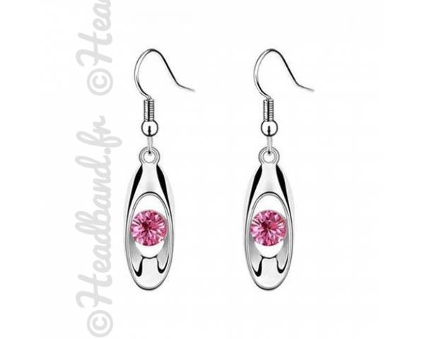 Boucles avec pendentif ovale strass rose