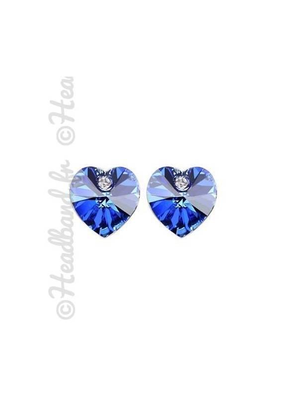 Boucles d'oreilles puces strass bleu