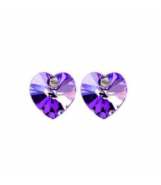 Boucles d'oreilles puces strass violet