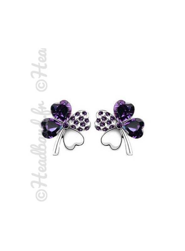 Boucles d'oreille trèfle violet foncé