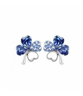 Boucles d'oreille trèfle bleu foncé