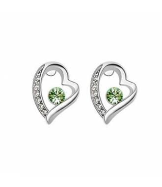 Boucles amour puces cristaux vert