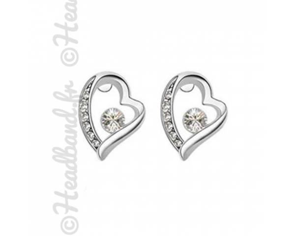 Boucles amour puces cristaux blanc