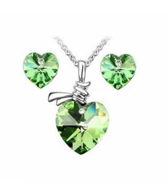 Parure bijoux femme cœur vert