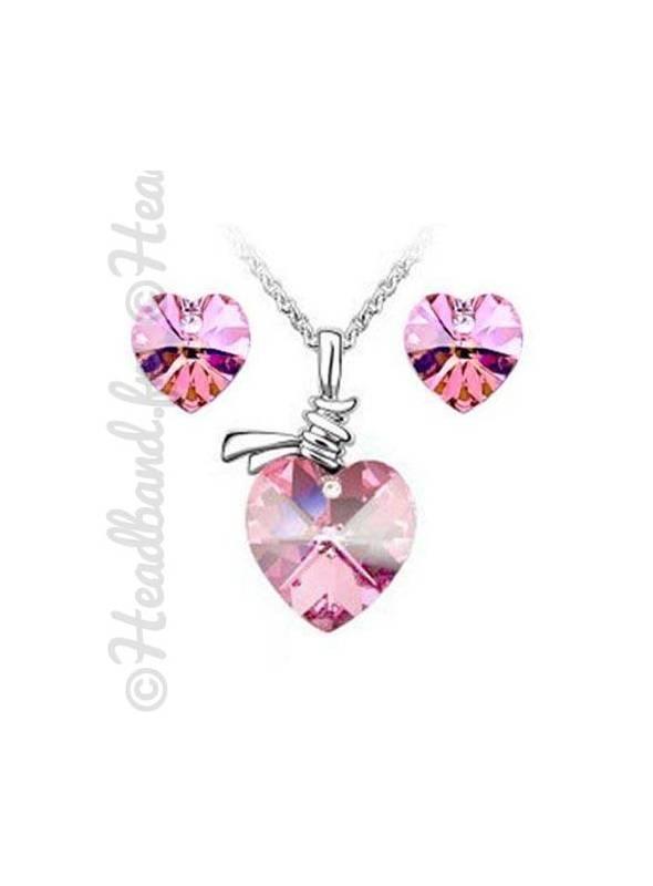Parure bijoux femme cœur rose