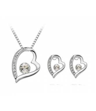 Parure bijoux romantique cristal blanc