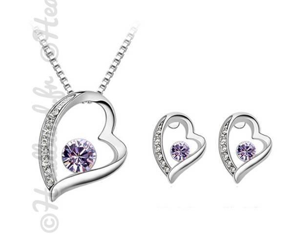 Parure bijoux romantique cristal mauve