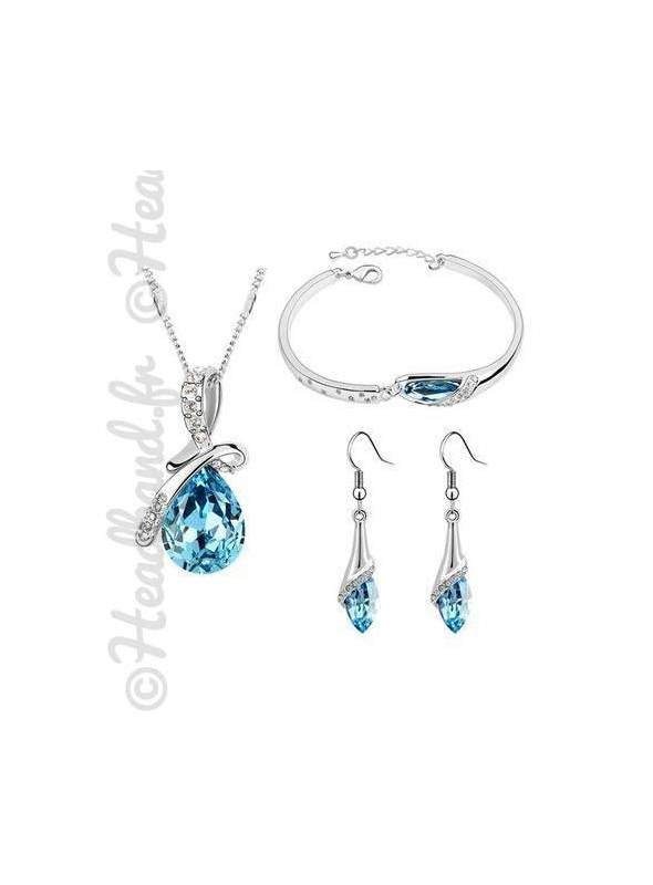 Parure bijoux femme strass bleu princesse