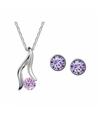Parure bijoux femme sertie de strass violets