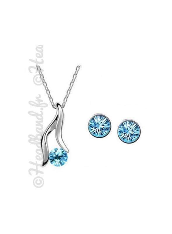 Parure bijoux femme sertie de strass bleus