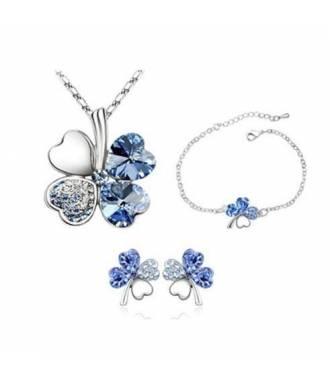 Parure bijoux trèfle 3 pièces cristaux bleu