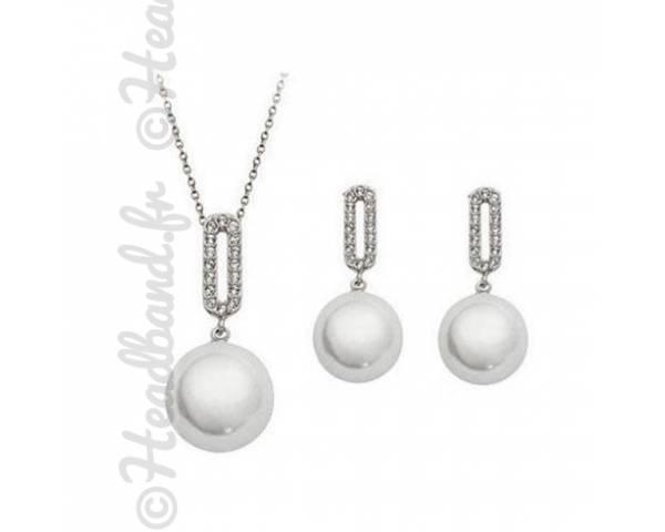 Parure imitation perles blanches