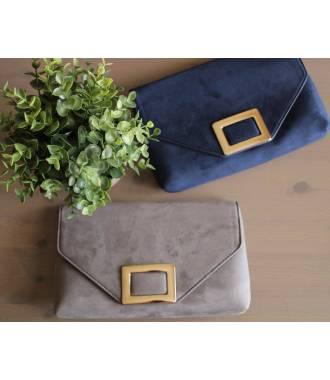 Pochette suédine grise fermoir rectangle métal