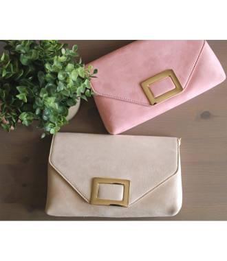 e67b97fc69 Pochette suédine rose fermoir rectangle métal Pochette suédine rose fermoir  rectangle métal