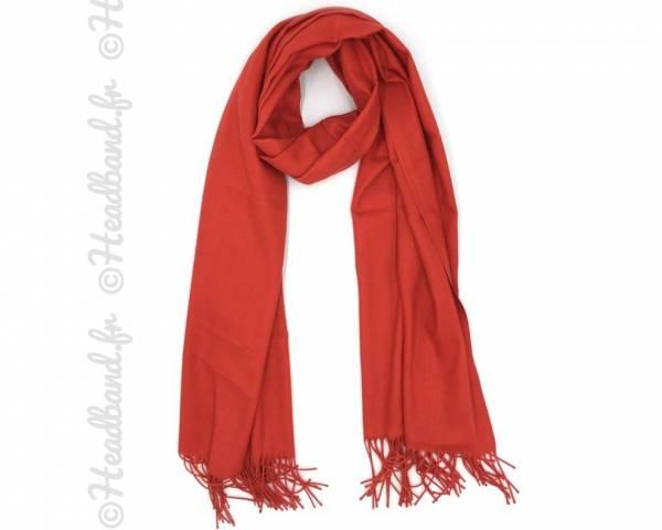 Echarpe unie à franges rouge
