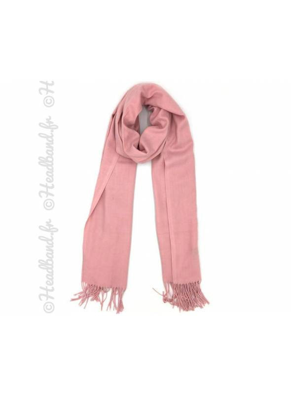 Echarpe unie à franges rose