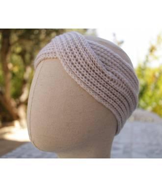 Turban chaud croisé beige