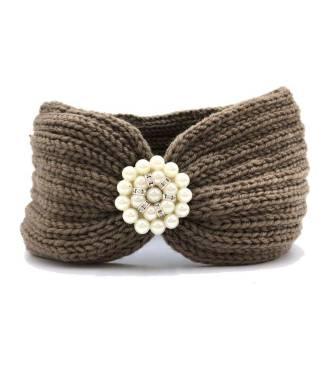 Bandeau laine applique perlée kaki