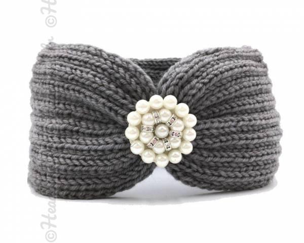 Bandeau laine applique perlée gris