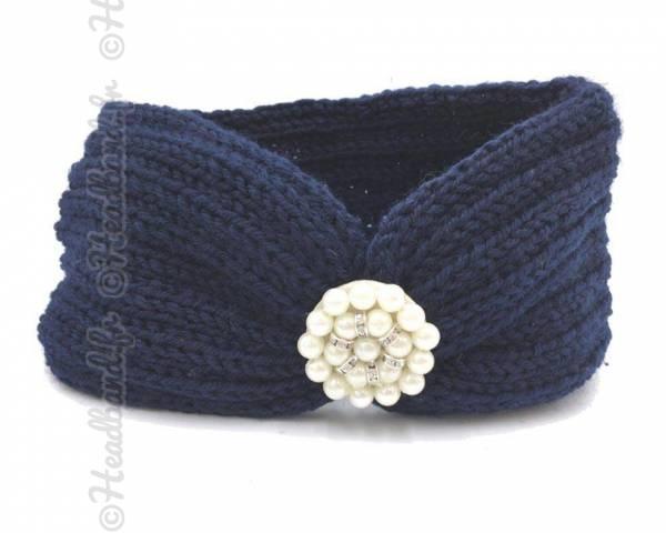 Bandeau laine applique perlée marine