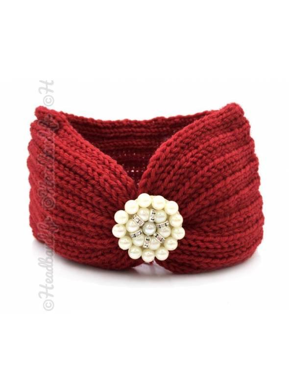 Bandeau laine applique perlée bordeaux