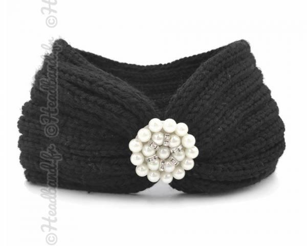 Bandeau laine applique perlée noir